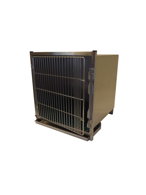 Stainless steel cage with barred doors