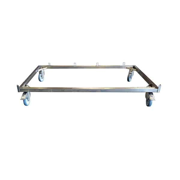Châssis 4 roues pour cage inox B