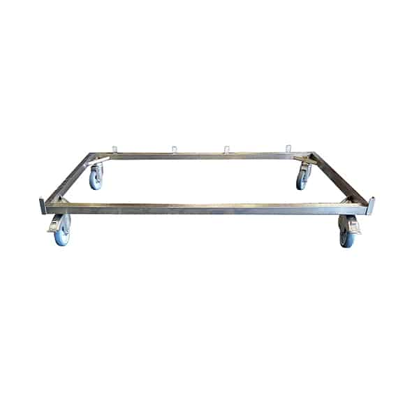 AC000201 Châssis Inox 4 roulettes (2 à freins) pour cage B Polyester Inox N1