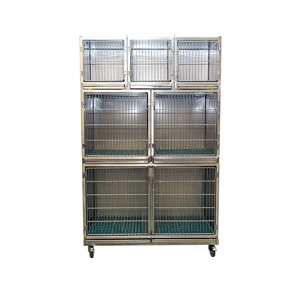 Set of 6 stainless steel cages on wheeled chassis (3A + 2B + 1C)