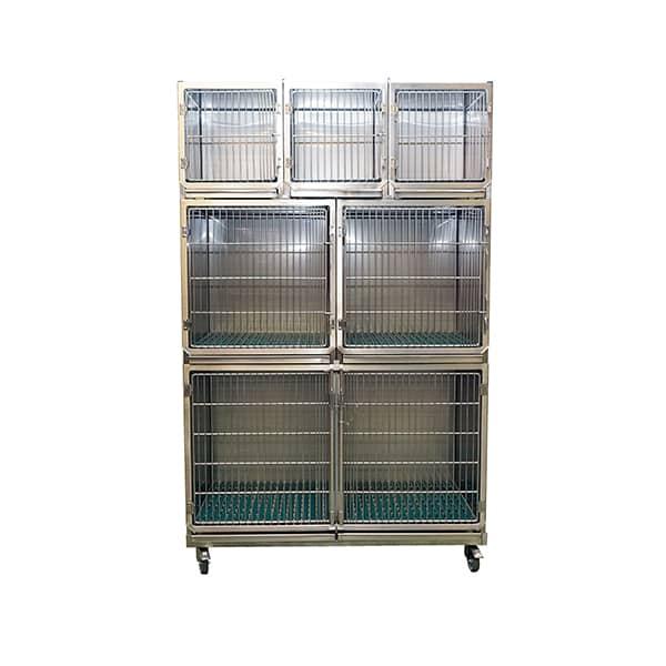 CI006000 Ensemble 6 cages inox porte grille inox (3A + 2B +1C + séparation + 1 chassis à roulettes) N1
