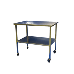 Veterinary trolley with trays, in stainless steel.