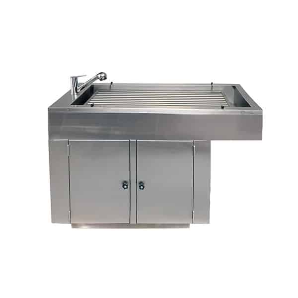 Bar tray preparation table with 2 doors and cladding