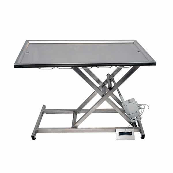 Electric consultation table with two drain trays