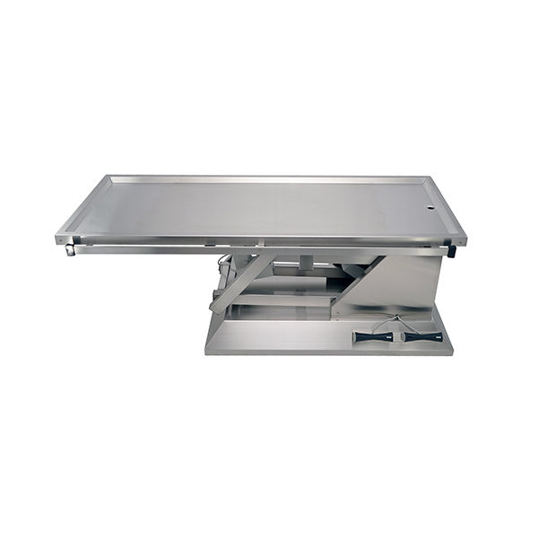 Electric surgery table with one evacuation tray