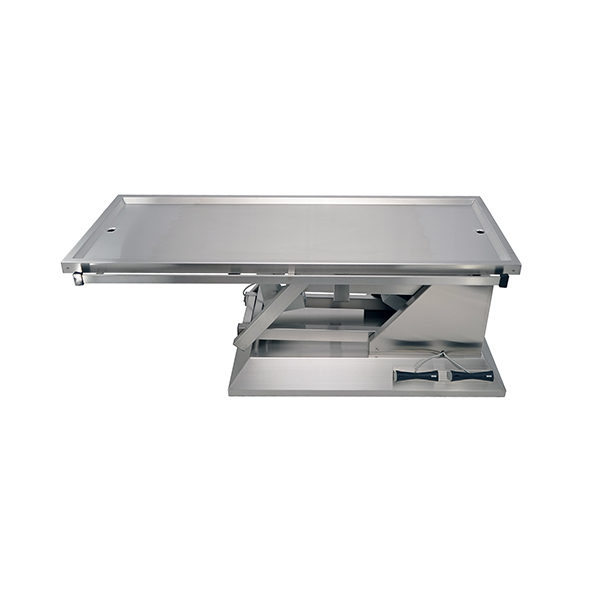 Electric surgery table with two evacuation trays