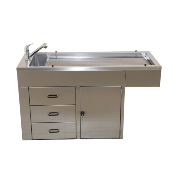 Preparation table with door and drawers