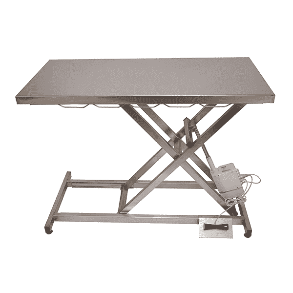 Veterinary electric consultation table with stainless steel tray