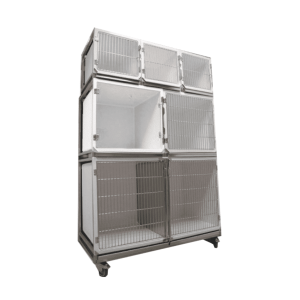 Set of 6 polyester cages on wheeled chassis (3A + 2B + 1C)