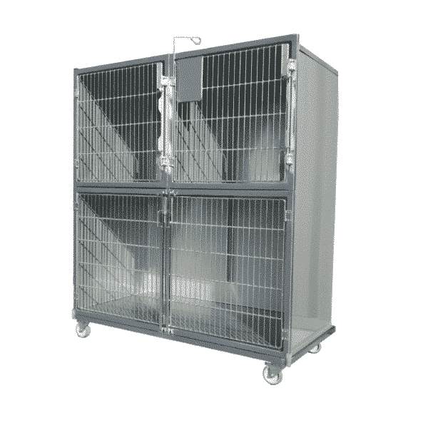 Set of 3 stainless steel cages on wheeled chassis (1C + 2B)