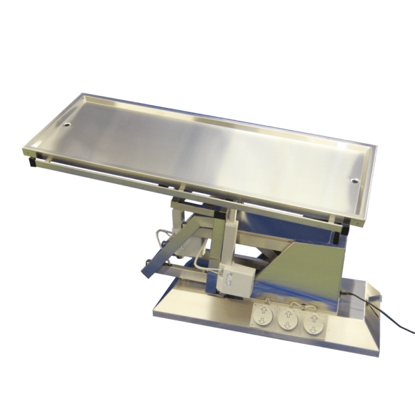 electric surgery table with evacuation and inclination