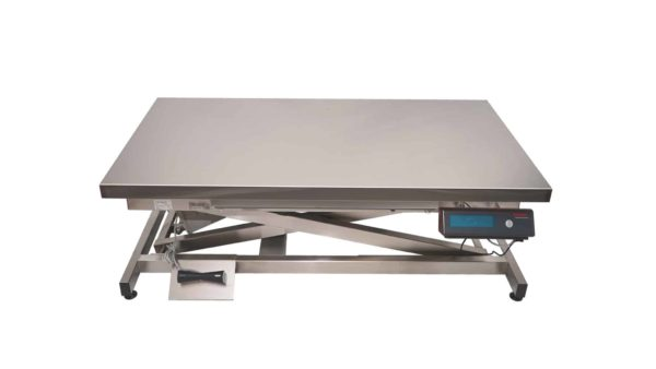 Electric consultation table with stainless steel flat plate and weighing system
