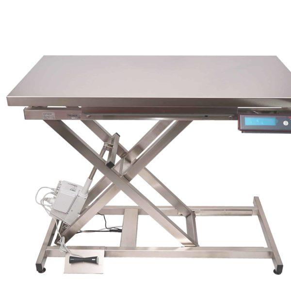 Table de consultation électrique, plateau plat inox avec pesée intégrée