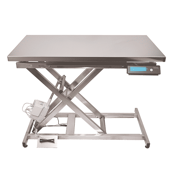 Electric veterinary table with flat tray and integrated weighing system