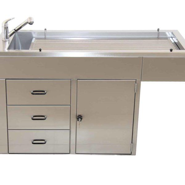 Table préparation plateau barreaux avec 1 porte + 3 tiroirs + habillage