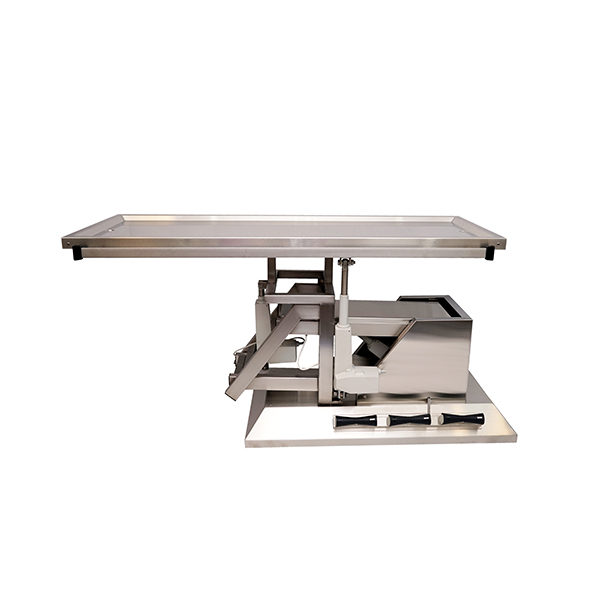 Surgery table with 3-way tilting and two-evacuation tabletop