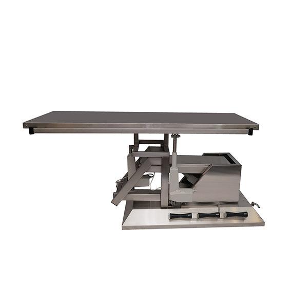 Table chirurgie avec inclinaison 3e sens, roues et plateau plat