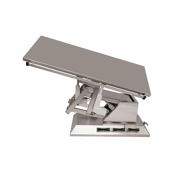 TA700110 Table chirurgie plateau plat INOX 4 roues 1400x530 (Proclive - déclive électrique) inclinaison 3e sens N5