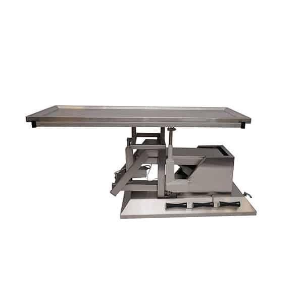 Table chirurgie avec inclinaison 3e sens, roues et plateau une évacuation
