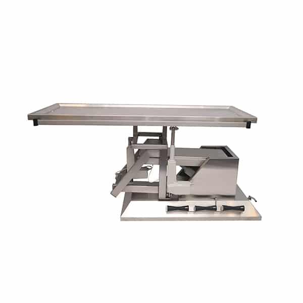 TA700115 Table chirurgie plateau 2 évacuations 4 roues 1400x530 (Proclive - déclive électrique) inclinaison 3e sens N1