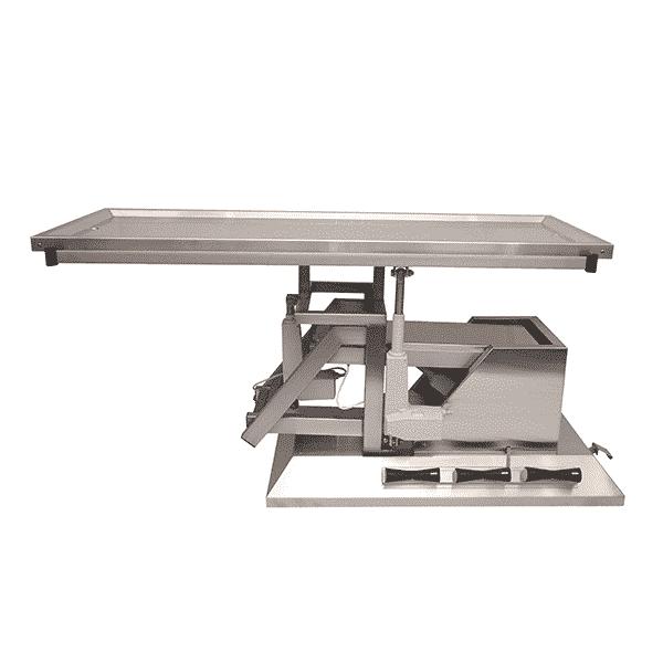 Table chirurgie plateau 2 évacuations avec roues et inclinaison 3e sens