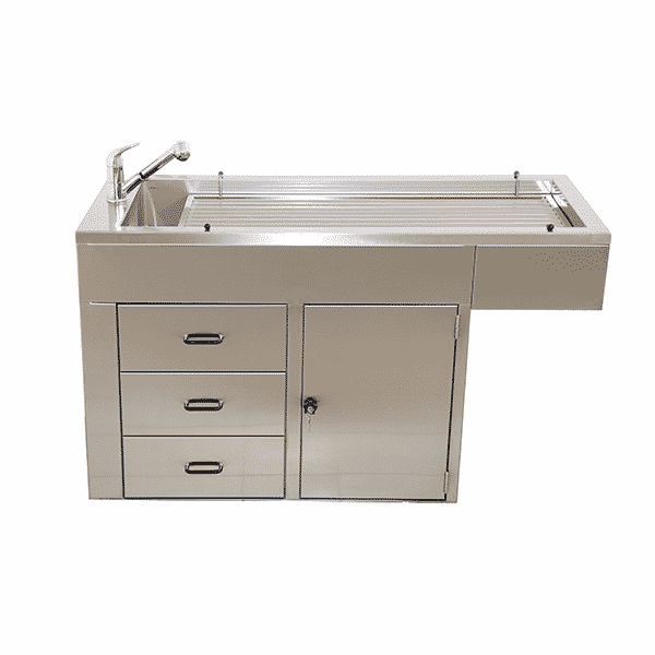 Table preparation tray with 1 door + 3 drawers + covering