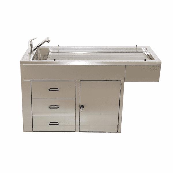 Table de préparation plateau barreaux 1 porte, 3 tiroirs et habillage