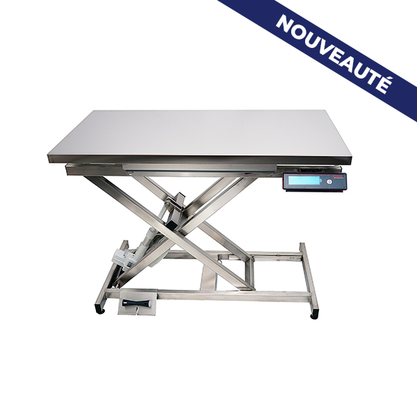 TA400100 Electric consultation table ELITE stainless steel flat plate with weighing - New