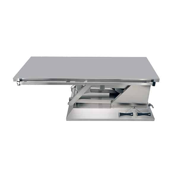 Electric surgery table with wheels and flat top