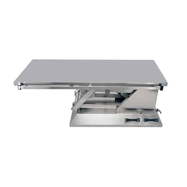 TA700010 Table chirurgie plateau plat INOX 4 roues 1400x530 (Proclive - déclive électrique) N1