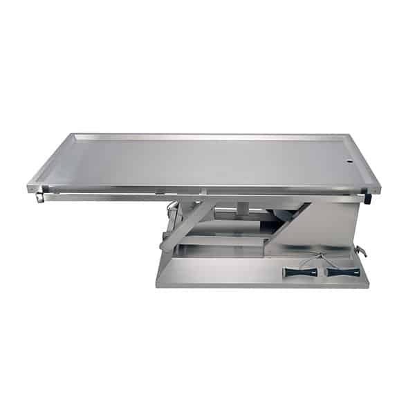 Electric surgery table with wheels and table top one evacuation