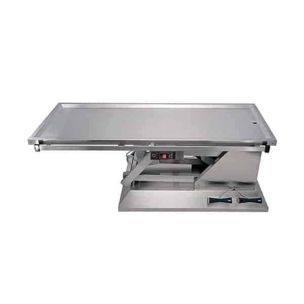 Surgery table with a warming top an evacuation