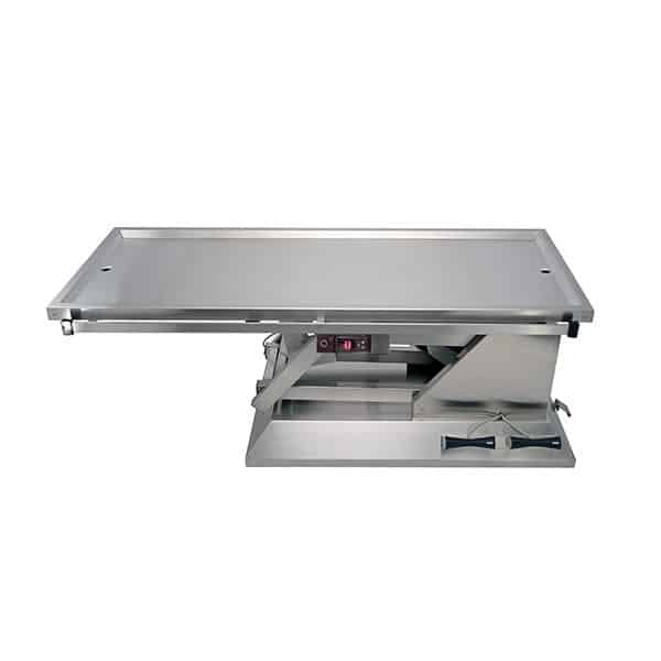 Surgery table with wheels and warming plate with two drains