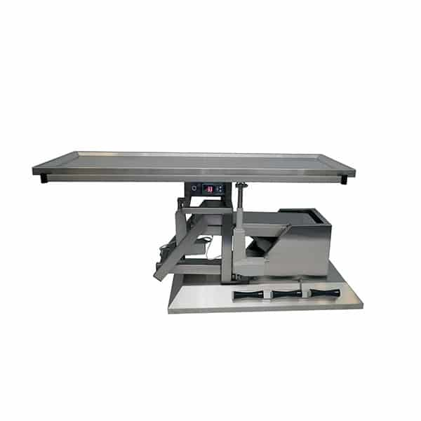 Surgery table with third direction tilting and warming top one evacuation
