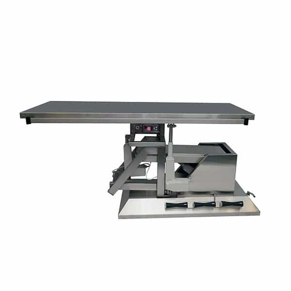 Surgery table with third direction tilt, wheels and flat warming top