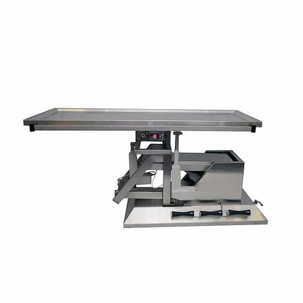 Surgery table with third direction inclination, wheels and warming tray two evacuations