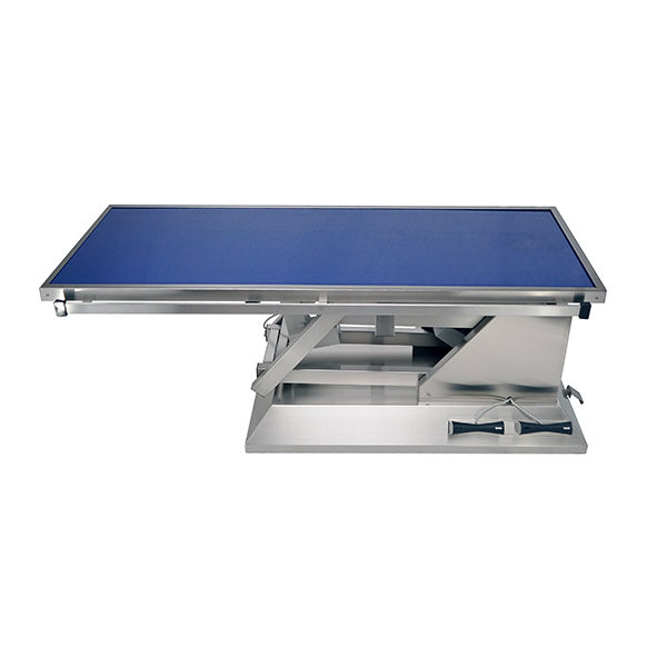 Surgery table with wheels and flat radiology tabletop