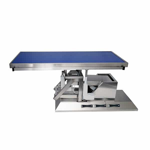 Surgery table with third direction tilt and flat radiology tabletop