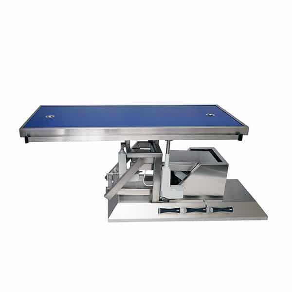 Surgery table with third direction tilt and two-evacuation radiology tabletop