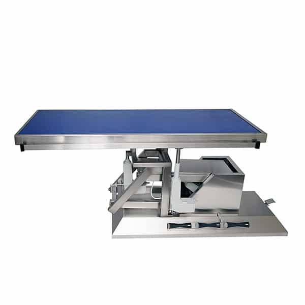 Surgery table with third direction tilt, wheels and flat radiology tabletop
