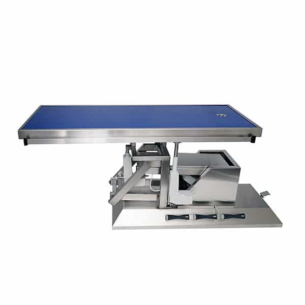 Surgery table with third direction tilt, wheels and radiology table top one evacuation