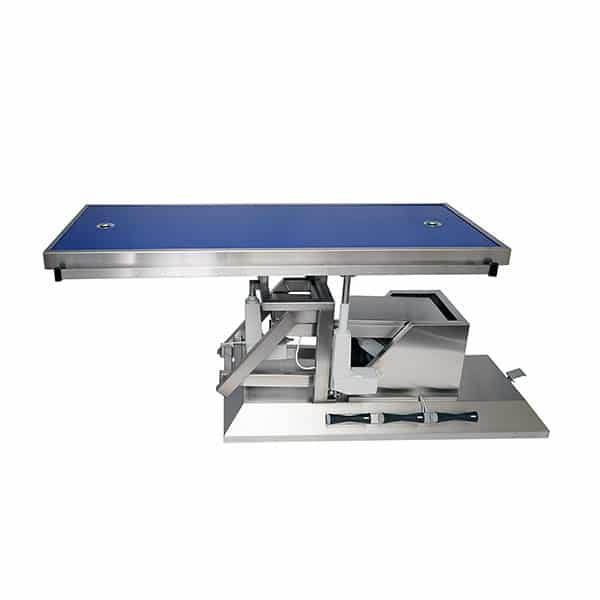 Surgery table with third direction inclination, wheels and radiology table top two evacuations