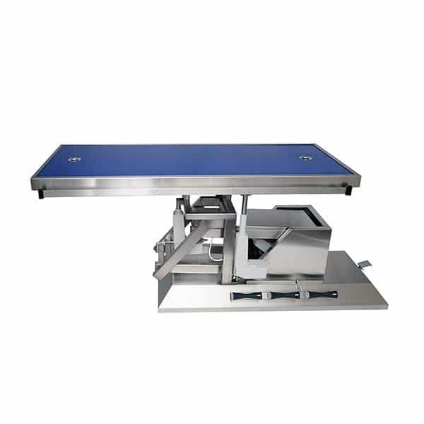 Table de chirurgie avec inclinaison troisième sens, roues et plateau de radiologie deux évacuations