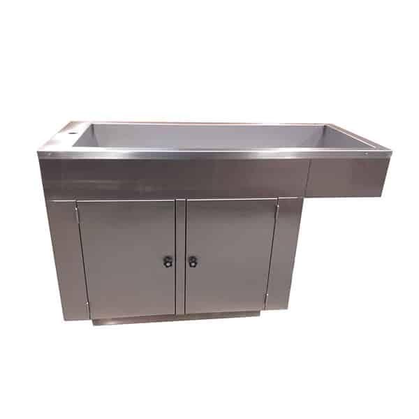 Table de préparation plateau barreaux avec 2 portes et habillage