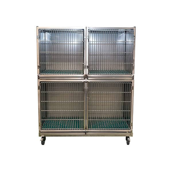 Set of 3 stainless steel cages on wheels with gratings and drawers on frame (1C + 2B)