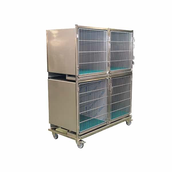 CI003000 Ensemble 3 cages inox porte grille inox (1C+2B + séparation + 1 chassis à roulettes) N2 (1)