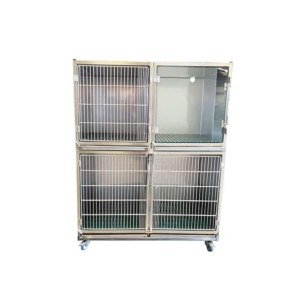 CI003030 Ensemble 3 cages inox porte grille inox (1C+1B + 1B trou O²+séparation + 1 chassis à roulettes ) N2