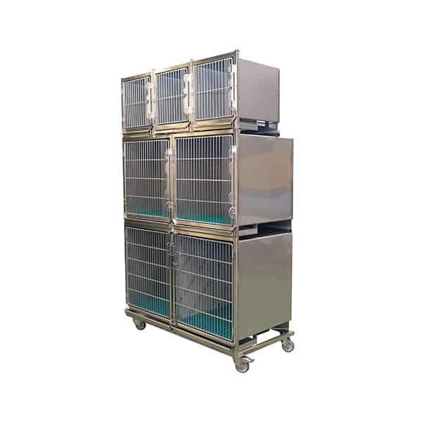 CI006000 Ensemble 6 cages inox porte grille inox (3A + 2B +1C + séparation + 1 chassis à roulettes) N2