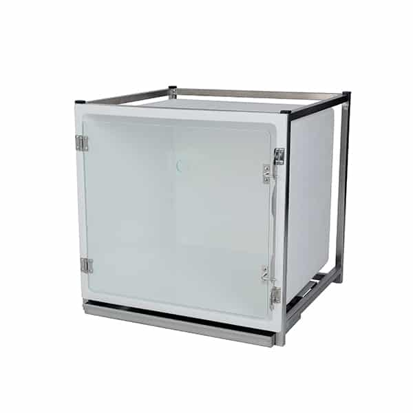 CP200115 Cage polyester B avec porte en verre L490 H510 P611 avec trou oxygène (sans Embout O² Fix AC00010)