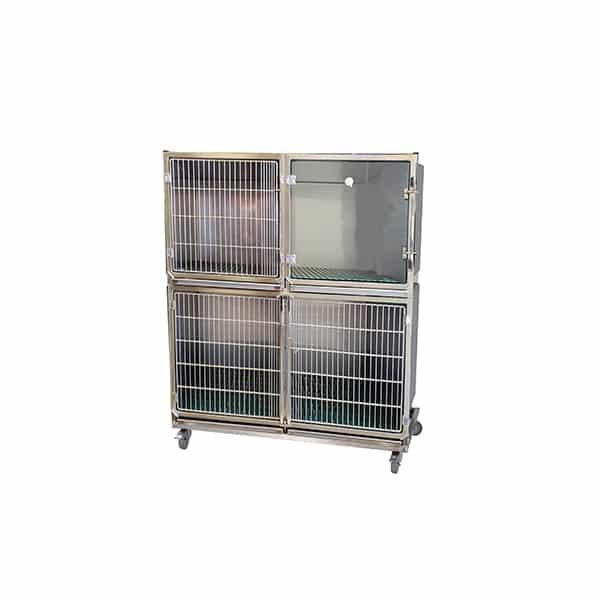 CI003030 Ensemble 3 cages inox porte grille inox (1C+1B + 1B trou O²+séparation + 1 chassis à roulettes )